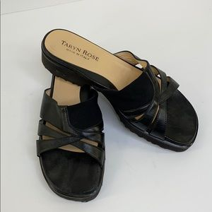 Taryn Rose Black Leather Slip on Slide Sandals